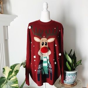 Sweaters - Cutest Rudolph the Reindeer Christmas Sweater
